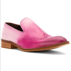 Pink Burnished Leather Pinking Wingtip Loafers